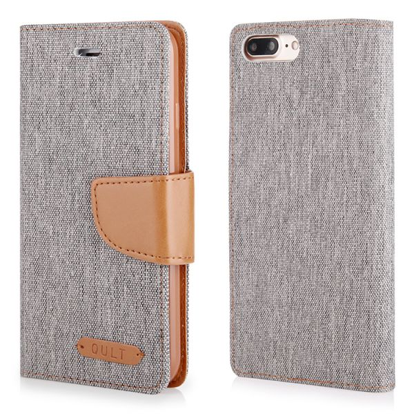 "Klapp Etui ""Fancy"" Canvas für iPhone 7/8 Plus grau"
